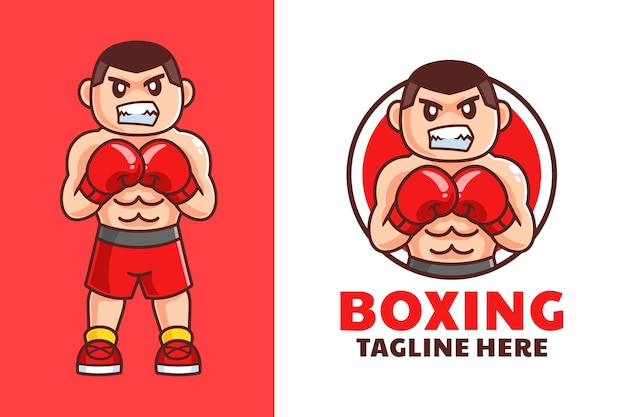 Diseño de logotipo de dibujos animados de boxeo de hombres