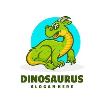 Diseño de logotipo de dibujos animados de dinosaurio