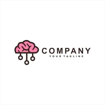Diseño de logotipo de dibujos animados de tecnología cerebral