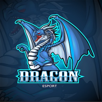 Diseño de logotipo de dragon mascota esport