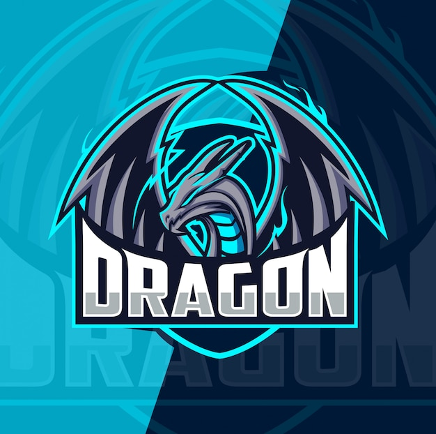 Diseño de logotipo de dragón mascota esport