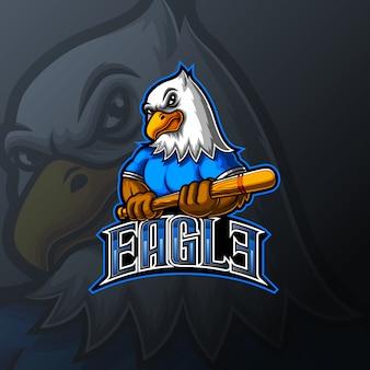 Diseño de logotipo de eagle baseball mascot e sport