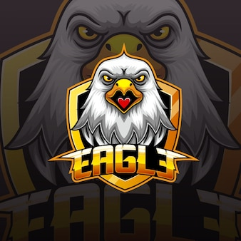 Diseño de logotipo de eagle head mascot e sport