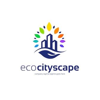 Diseño de logotipo ecológico de ciudad inteligente