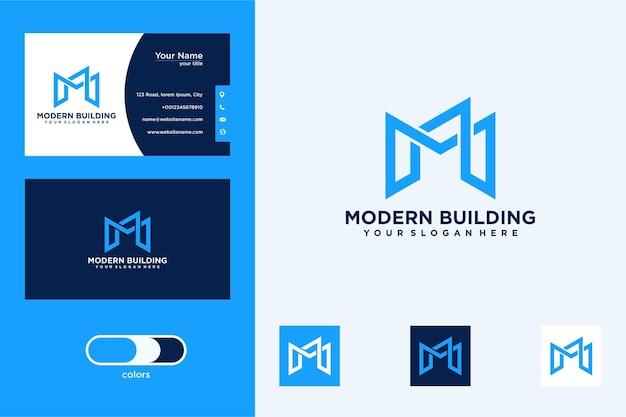 Diseño de logotipo de edificio de letra m y tarjeta de visita.