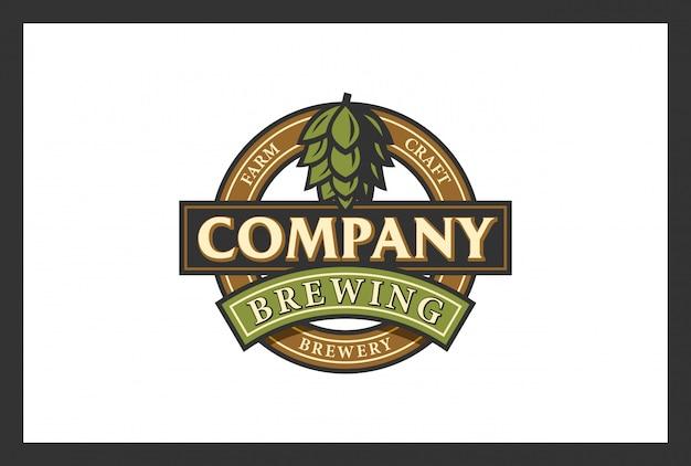 Diseño de logotipo de elaboración de cerveza en estilo vintage