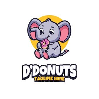 Diseño de logotipo de elefante come donas