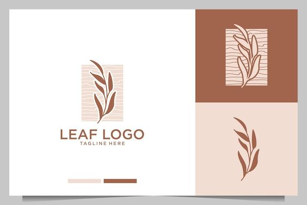 Diseño de logotipo elegante femenino de hoja