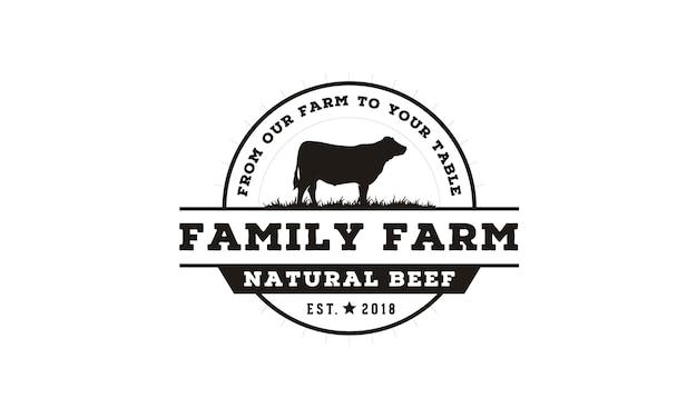 Diseño de logotipo de emblema de etiqueta de ganado / ganado de la vendimia