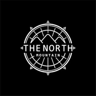 El diseño del logotipo del emblema del lineart de la brújula de la montaña del norte