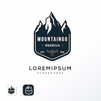 Diseño de logotipo de emblema de montaña