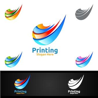 Diseño de logotipo de empresa de impresión digital para medios, venta minorista, publicidad, periódico o concepto de libro