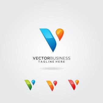 Diseño de logotipo de la empresa letra v