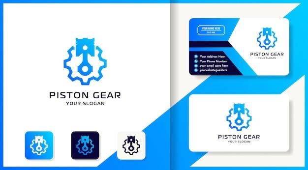 Diseño de logotipo de engranaje de pistón y tarjeta de visita.