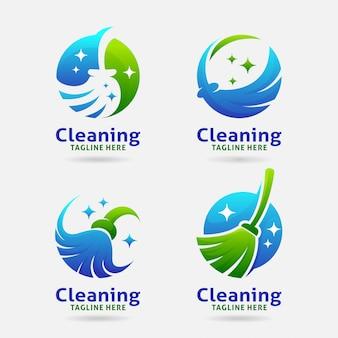 Diseño de logotipo de escoba de limpieza