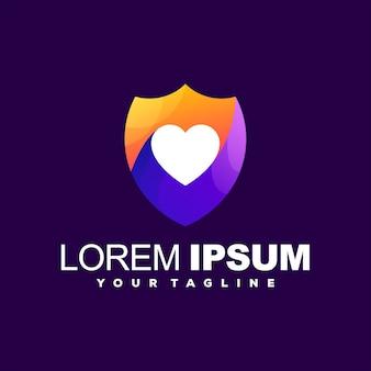 Diseño de logotipo escudo corazón color