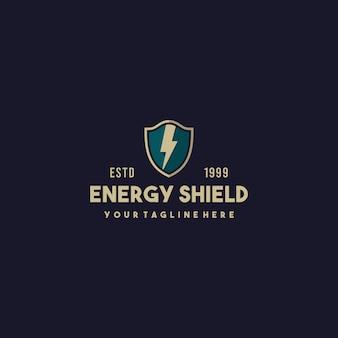 Diseño de logotipo de escudo de energía creativa
