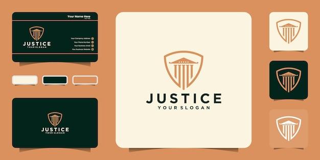 Diseño de logotipo de escudo de justicia y tarjeta de visita.