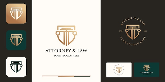 Diseño de logotipo de escudo legal y tarjeta de presentación.