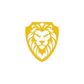 Diseño de logotipo de escudo de león