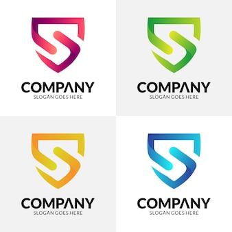 Diseño de logotipo escudo letra s