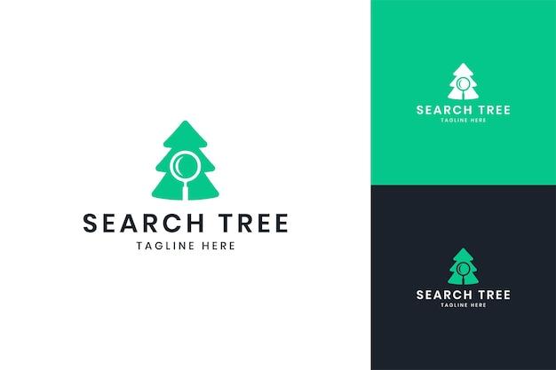 Diseño de logotipo de espacio negativo de árbol de búsqueda