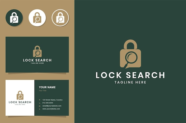 Diseño de logotipo de espacio negativo de búsqueda de bloqueo