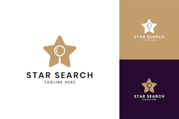 Diseño de logotipo de espacio negativo de búsqueda de estrellas