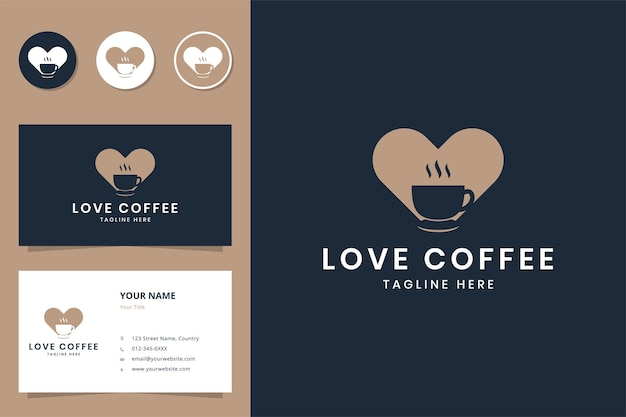 Diseño de logotipo de espacio negativo de café de amor