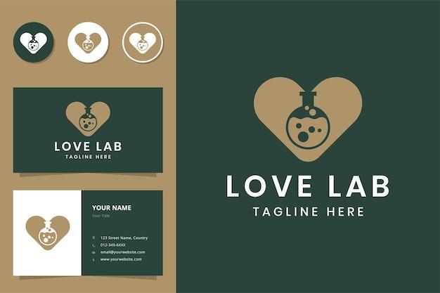 Diseño de logotipo de espacio negativo de laboratorio de amor