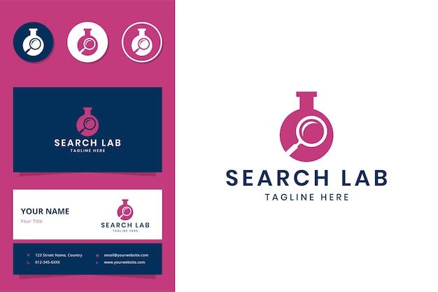Diseño de logotipo de espacio negativo de laboratorio de búsqueda