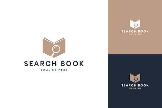 Diseño de logotipo de espacio negativo de libro de búsqueda
