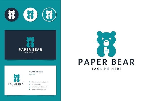 Diseño de logotipo de espacio negativo de oso de papel