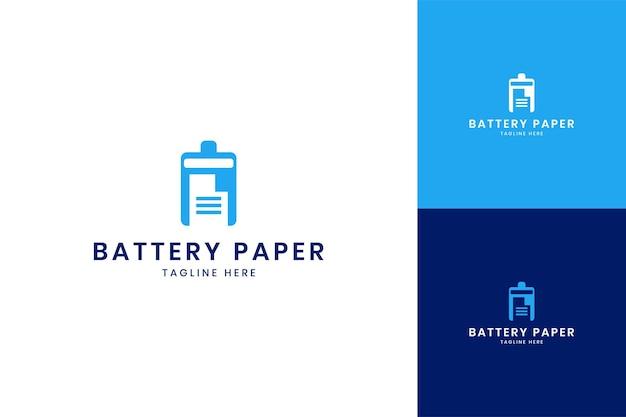 Diseño de logotipo de espacio negativo de papel de batería