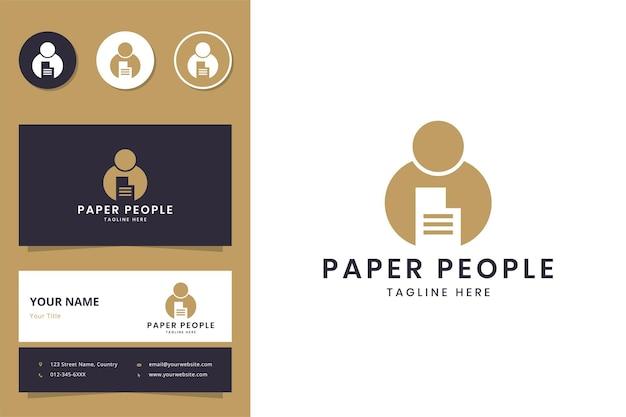 Diseño de logotipo de espacio negativo de personas de papel