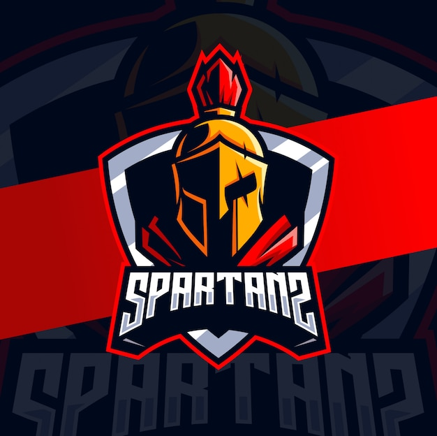 Diseño de logotipo espartano mascota esport