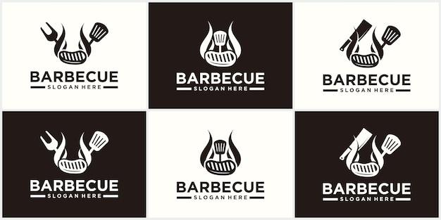 Diseño de logotipo de espátula de barbacoa parrilla comida fuego y plantilla de concepto de espátula ilustración vectorial