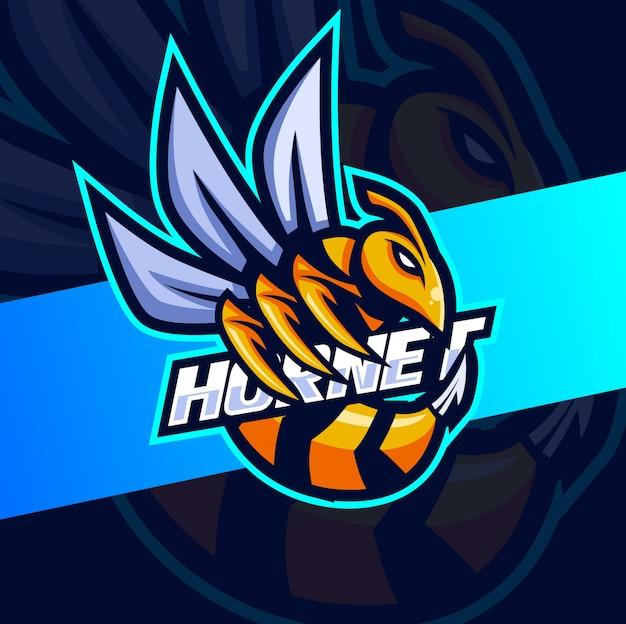 Diseño de logotipo de esport de mascota de abeja avispón