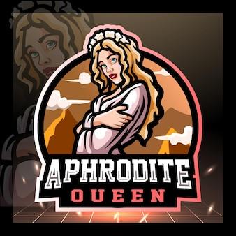 Diseño de logotipo de esport de la mascota de afrodita
