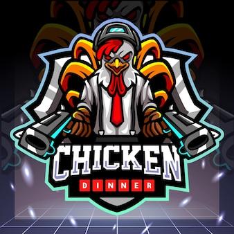 Diseño de logotipo de esport de mascota de artilleros de gallo de pollo