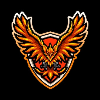 Diseño de logotipo de esport de mascota de ave fénix