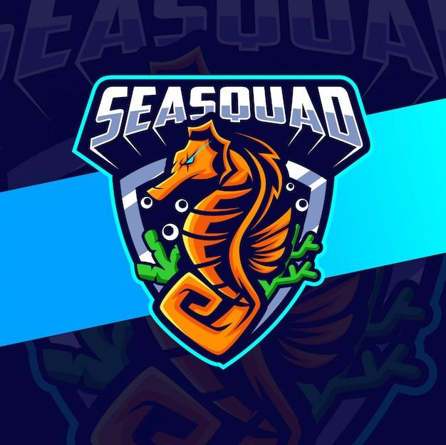 Diseño de logotipo de esport de mascota de caballito de mar