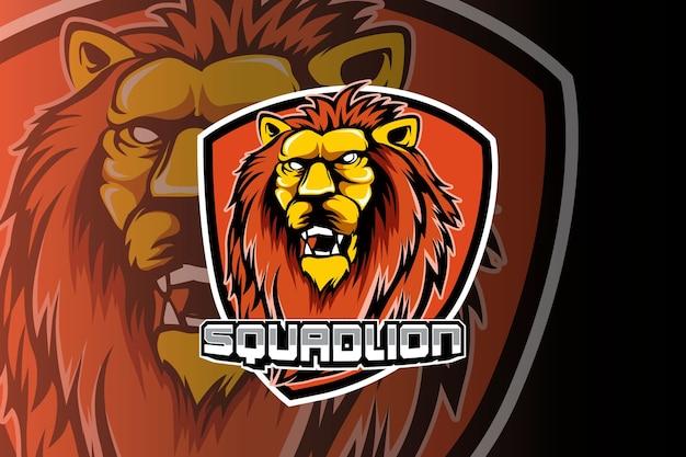 Diseño de logotipo de esport de mascota de cabeza de león
