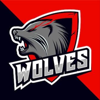 Diseño de logotipo esport de mascota de cabeza de lobo