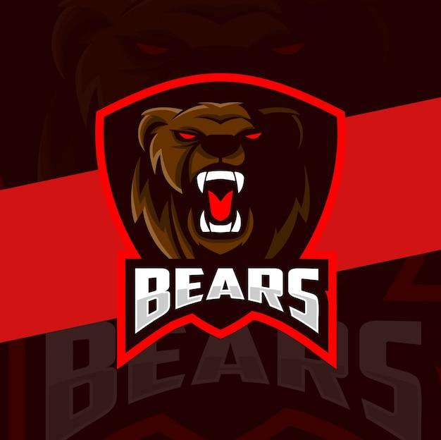 Diseño de logotipo de esport de mascota de cabeza de oso enojado