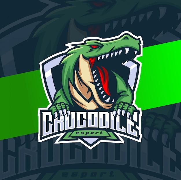 Diseño de logotipo de esport mascota de cocodrilo