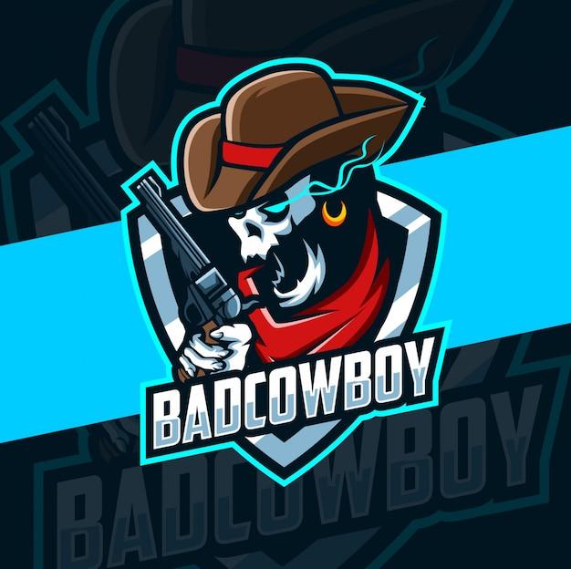 Diseño de logotipo de esport de mascota de cráneo de vaquero