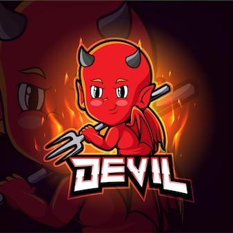 Diseño de logotipo de esport de mascota diablo
