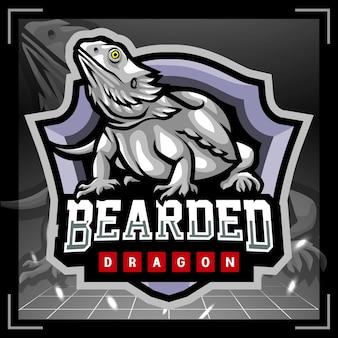 Diseño de logotipo de esport de mascota de dragón barbudo