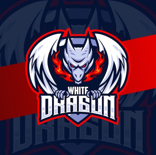 Diseño de logotipo de esport de mascota de dragón blanco